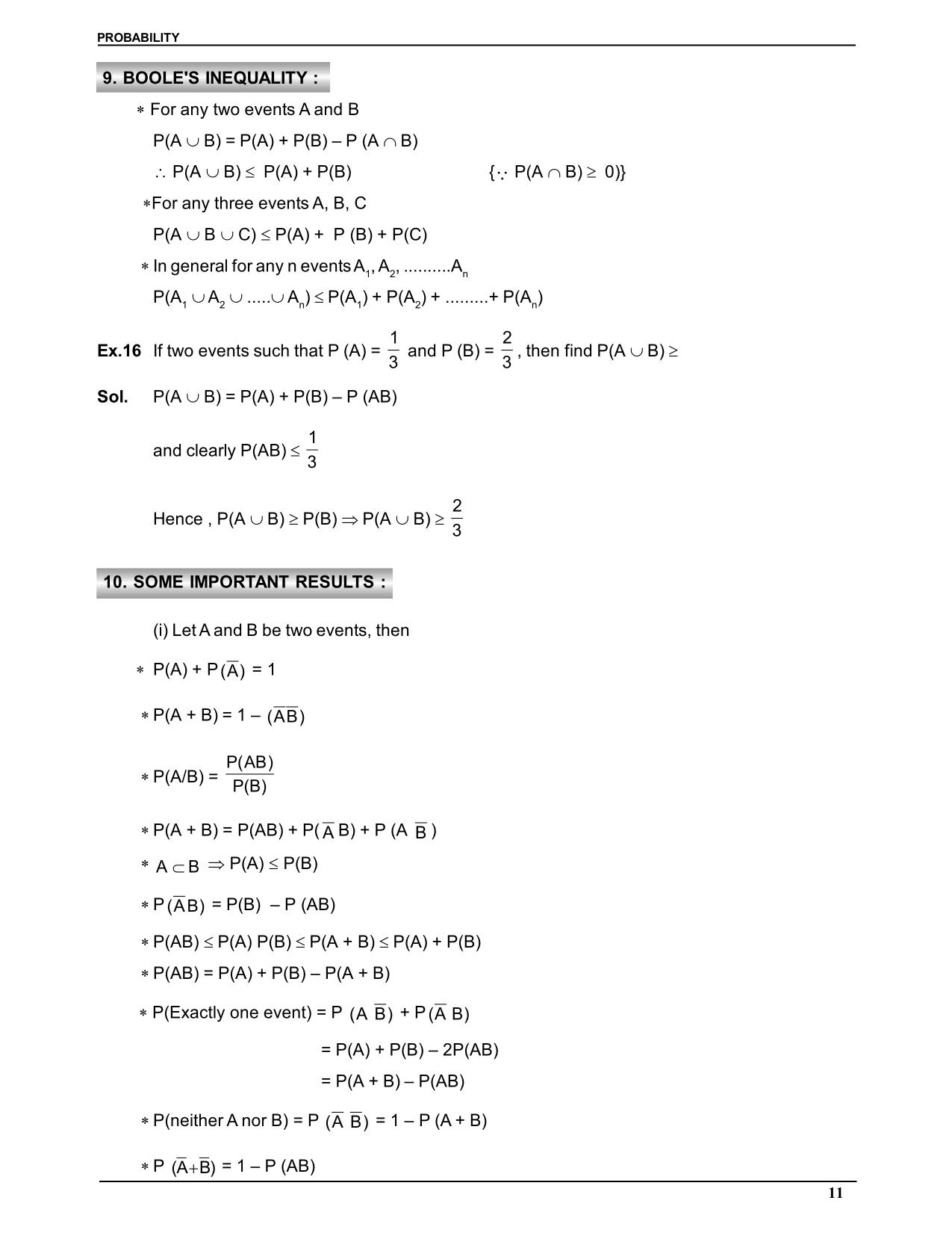 Probability Notes for Class 11 : Boole's Inequality