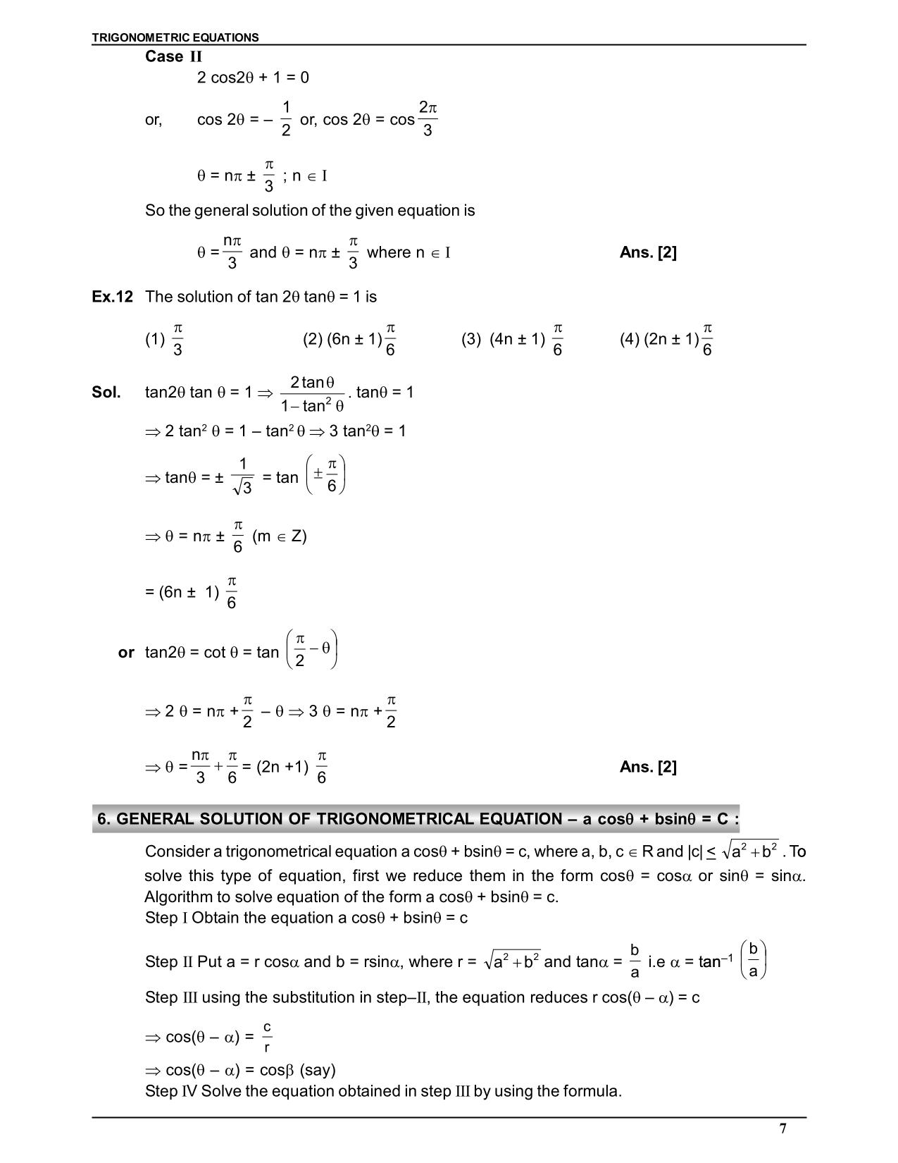 trigonometry class 11 notes
