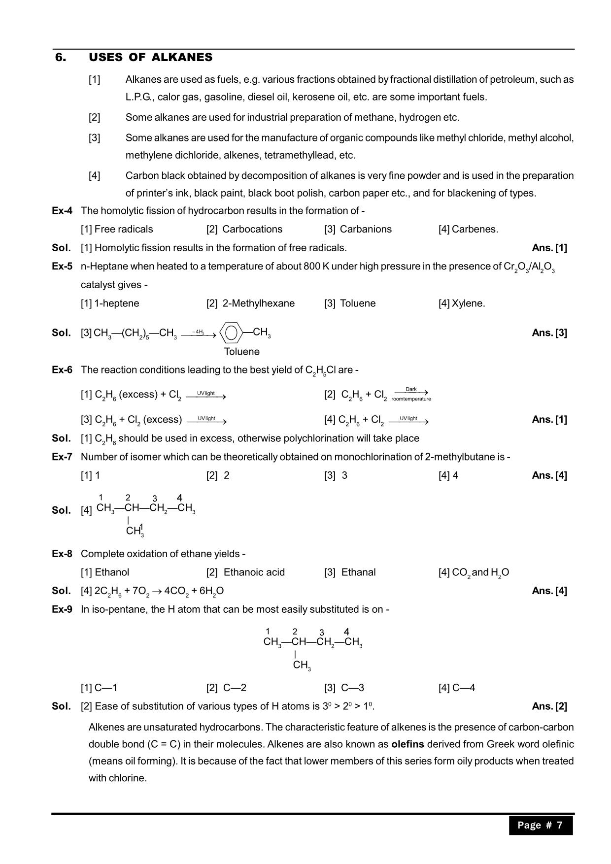 Hydrocarbons Class 11 Notes :Uses of Alkanes