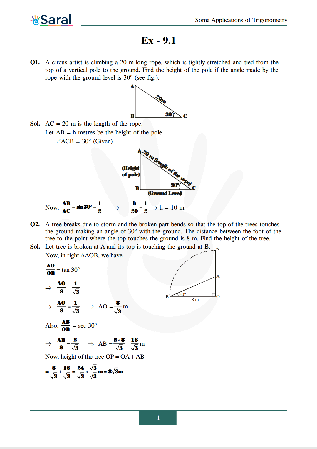 NCERT Solutions for Class 10 Maths chapter 9 Exercise 9.1 image 1