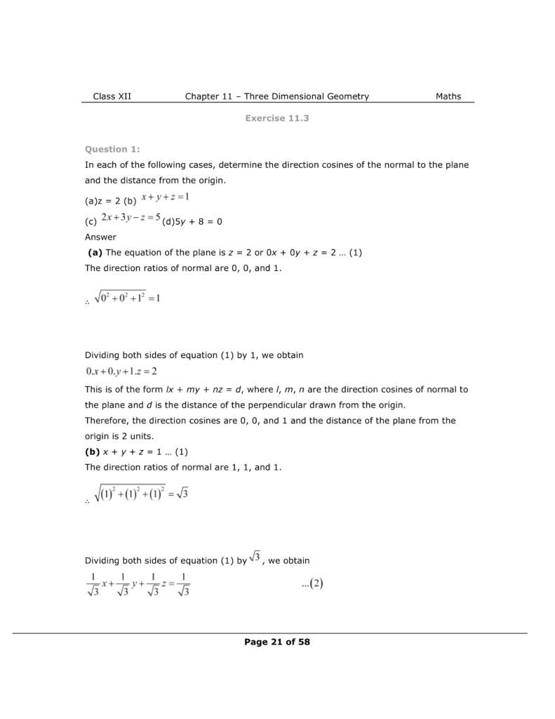 NCERT Class 12 Maths Chapter 11 Exercise 11.3 Solutions Image 1