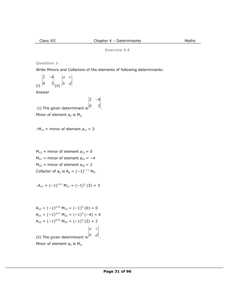 NCERT Class 12 Maths Chapter 4 Exercise 4.4 Solutions Image 1