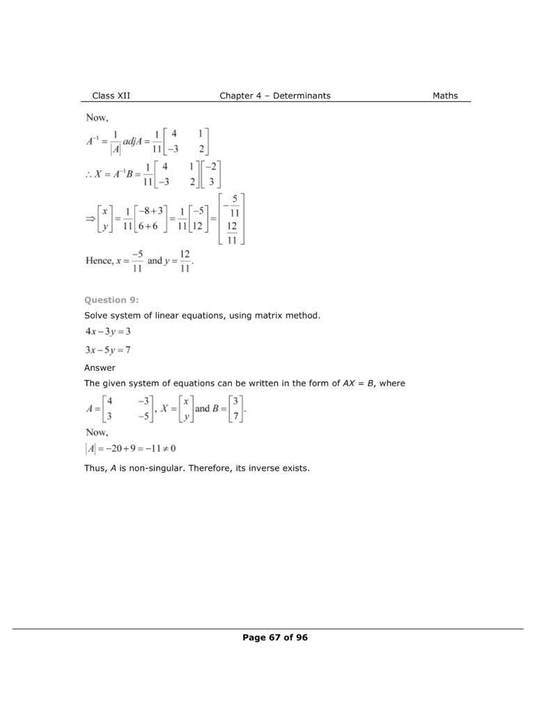 NCERT Class 12 Maths Chapter 4 Exercise 4.6 Solutions Image 7