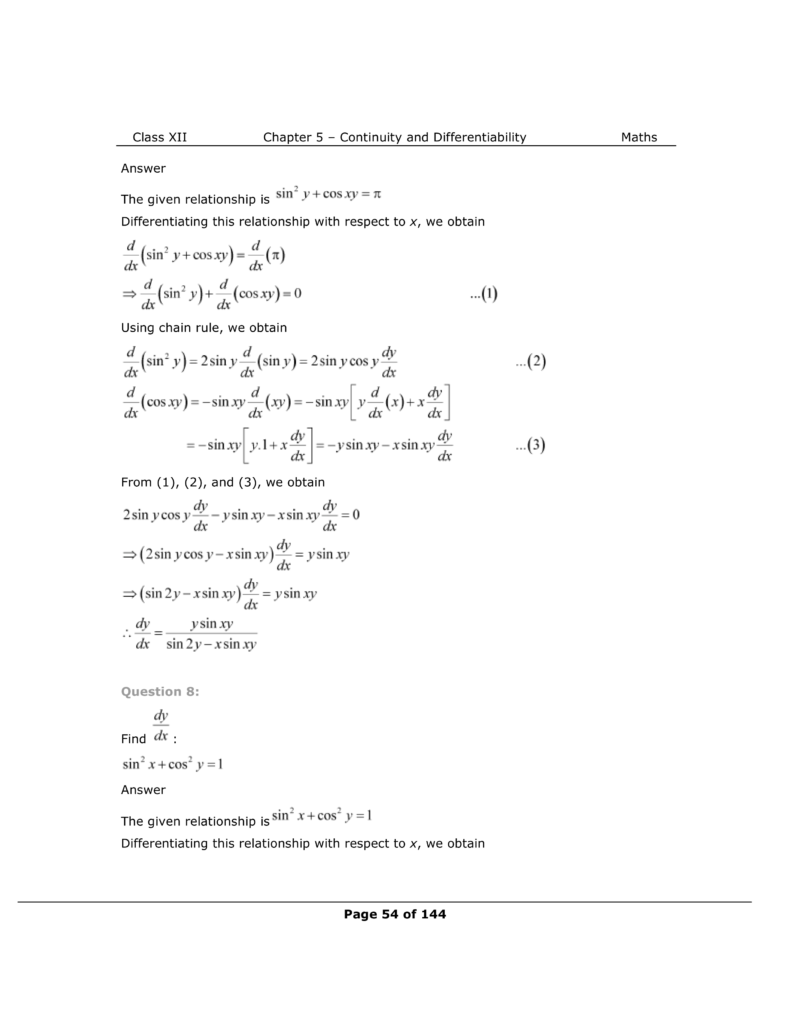 NCERT Class 12 Maths Chapter 5 Exercise 5.3 Solutions Image 5