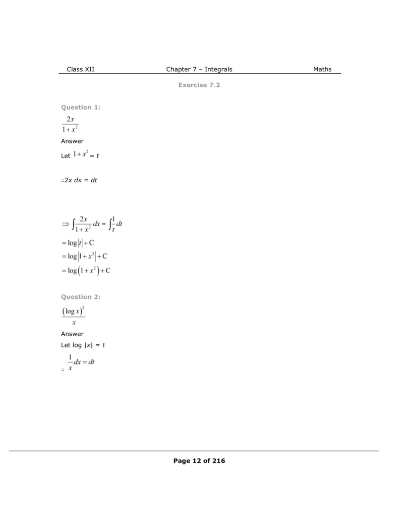 NCERT Class 12 Maths Chapter 7 Exercise 7.2 Solutions Image 1