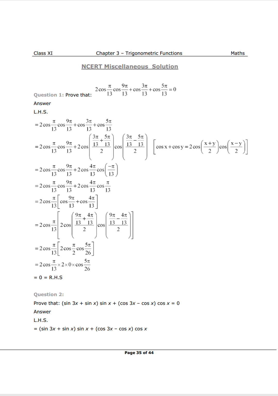 Class 11 maths Chapter 3 Miscellaneous Solutions Image 1