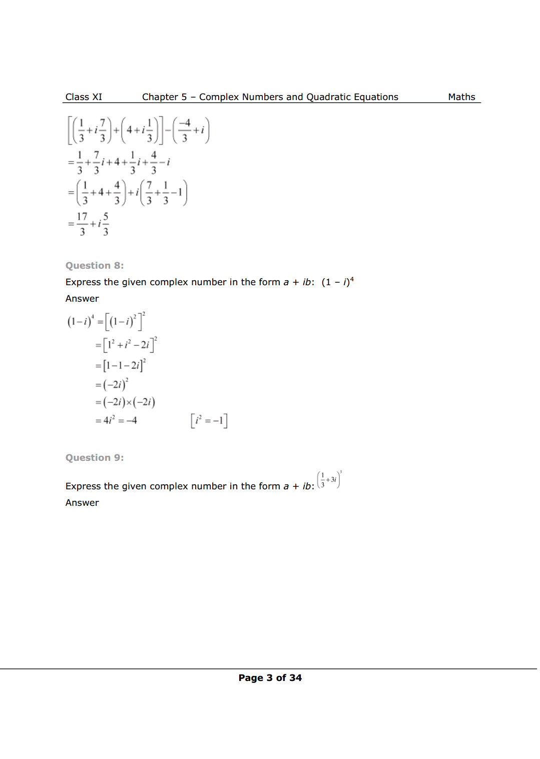 Class 11 math chapter 5 exercise 5.1 Solutions Image 3